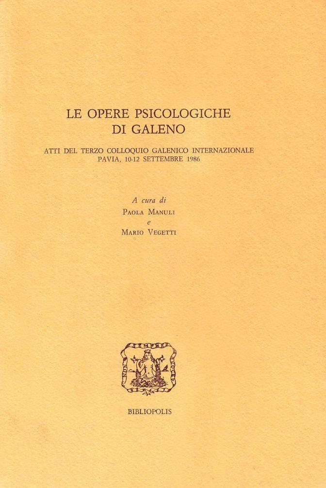 Le opere psicologiche di Galeno