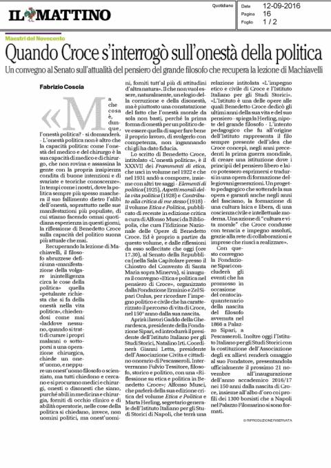 Quando Croce s'interrogò sull'onestà della politica, di Fabrizio Coscia (Il Mattino, 12/09/2016)