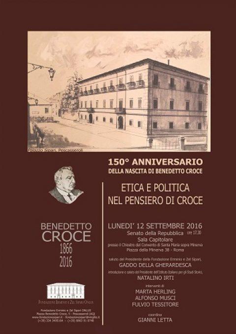 """Convegno """"Etica e politica nel pensiero di Croce"""" al Senato della Repubblica – 12 settembre 2016"""