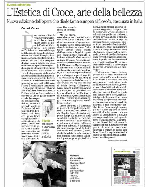 L'Estetica, recensione di Corrado Ocone (La Repubblica, 2/11/2014)
