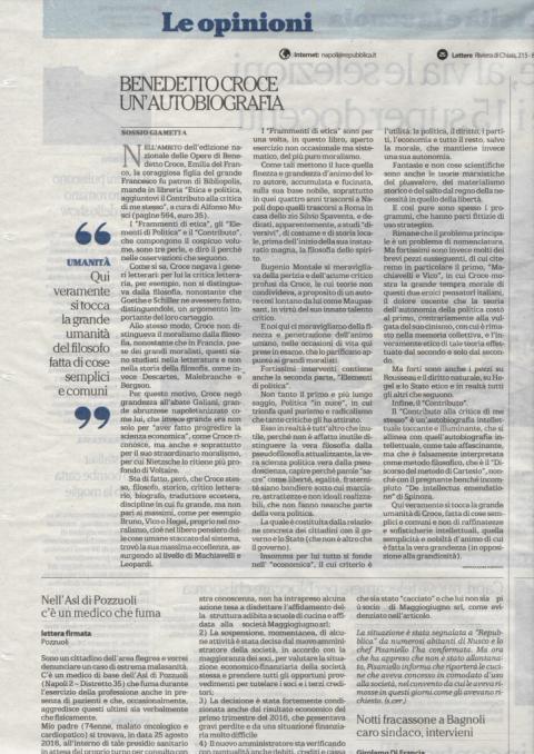 """""""Benedetto Croce, un'autobiografia"""", di Sossio Giametta (La Repubblica,"""