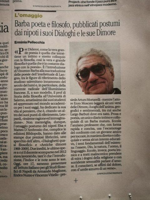Barba poeta e filosofo, Il Mattino, Salerno, 9/3/2018