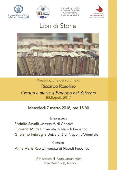 Presentazione Riccardo Rosolino – Credito e morte a Palermo nel Seicento – 7/3/2018