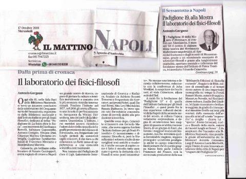 Il laboratorio dei fisici-filosofi (A. Gargano, Il Mattino – 17/10/18)