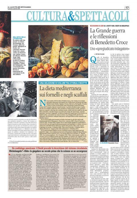 La Grande Guerra e le riflessioni di Benedetto Croce (P. Polieri, La Gazzetta del Mezzogiorno, 5/1/2020)