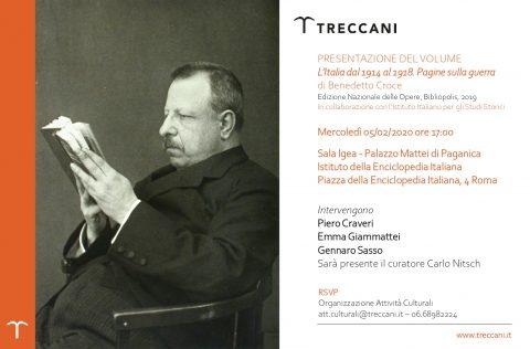 Presentazione delle Pagine sulla guerra di Benedetto Croce (Roma, mercoledì 5 febbraio 2020)