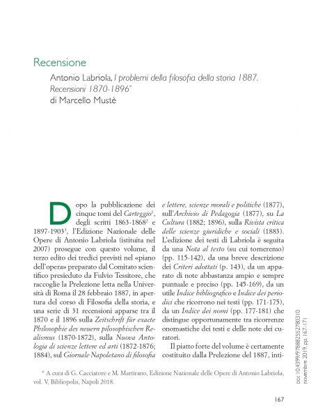 M. Musté, Recensione a Antonio Labriola, I Problemi della filosofia della storia (1887). Recensioni (1870-1896) (Filosofia Italiana, XIV, 2019, 2)