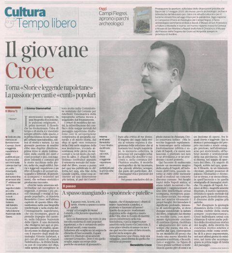Il giovane Croce e la passione di erudito (E. Giammattei, Corriere del Mezzogiorno, 10/07/2020)