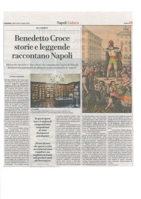 Benedetto Croce, storie e leggende raccontano Napoli (S. Giametta, La Repubblica, 8/7/2020