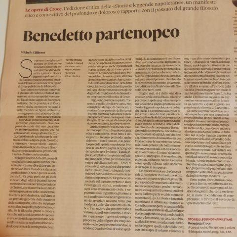 Benedetto partenopeo (M. Ciliberto, Domenicale Sole 24 Ore, 6/9/2020)