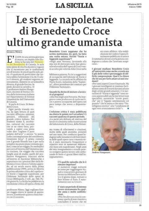 Le storie napoletane di Benedetto Croce, ultimo grande umanista (G. Mosca, La Sicilia, 16/10/2020)