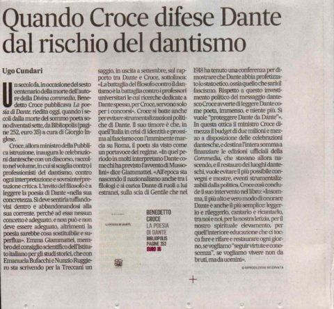 Quando Croce difese Dante dal rischio del dantismo (U. Cundari,  Il Mattino, 9/5/21)