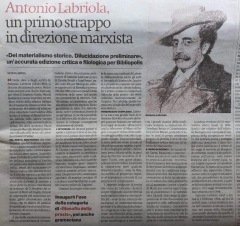 Antonio Labriola, un primo strappo in direzione marxista (A. Garzia, il manifesto, 23/07/2021)