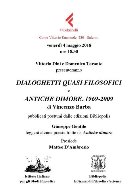 Presentazione Dialoghetti quasi filosofici e Antiche dimore. 1969-2009 – Salerno, 4/5/2018
