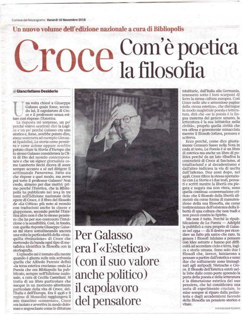 Croce. Com'è poetica la filosofia – G. Desiderio (Corriere del Mezzogiorno, 16/11/18)