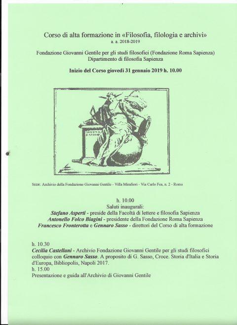 Presentazione G. Sasso Storia d'Italia e storia d'europa – Roma, 31/01/2019