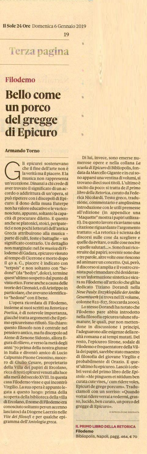 Recensione Filodemo, Il primo libro della Retorica (A. Torno, Sole 24 Ore, 6/1/2019)