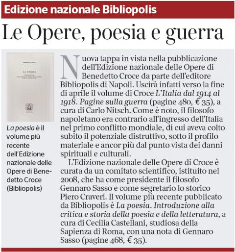 Edizione nazionale Bibliopolis – Corriere della Sera (29/03/2019)