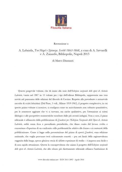 Recensione di A. Labriola, Tra Hegel e Spinoza. Scritti 1863-1868 (Marco Diamanti, www.filosofiaitaliana.net)