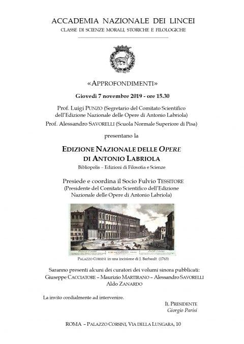 Presentazione dell'Edizione Nazionale delle opere di Antonio Labriola – Roma, 7 novembre 2019