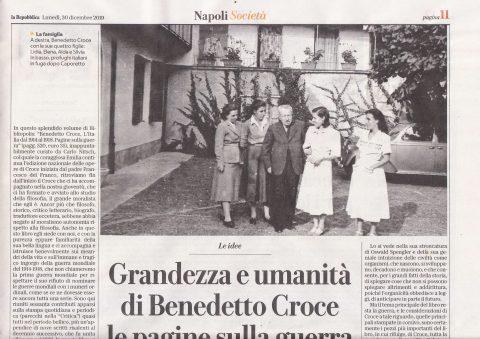 Grandezza e umanità di Benedetto Croce (Sossio Giametta, La Repubblica, 30/12/2019)