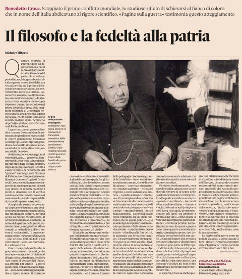 Il filosofo e la fedeltà alla patria (M. Ciliberto, Domenicale del Sole 24 Ore, 5/1/2020).