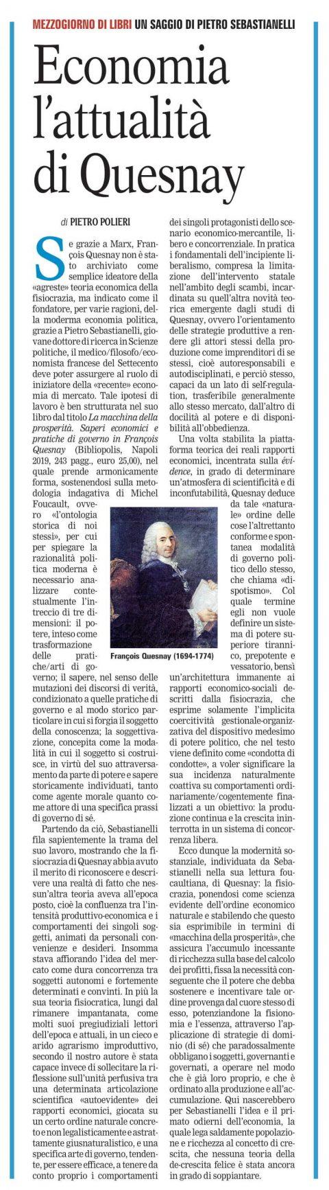 Economia. L'attualità di Quesnay (P. Polieri, Mezzogiorno di Libri, La Gazzetta del Mezzogiorno.it, 17/8/2020)
