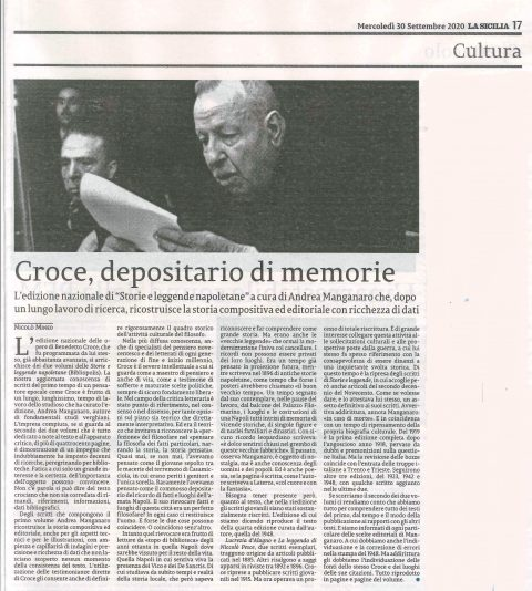 Croce, depositario di memorie (N. Mineo, La Sicilia, 30/09/2020)