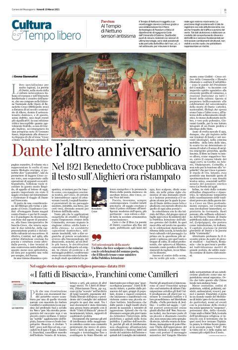 Dante, l'altro anniversario (E. Giammattei, recensione a B. Croce, La poesia di Dante, Bibliopolis 2021, Corriere del Mezzogiorno, 19/03/2021)
