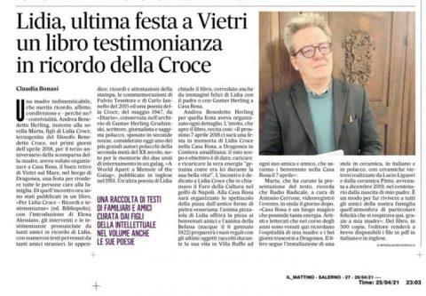 Lidia, ultima festa a Vietri, un libro testimonianza in ricordo della Croce (Il Mattino – Salerno, 25/04/2021)