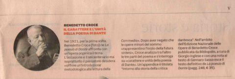 Benedetto Croce. Il carattere e l'unità della poesia di Dante (Il Sole 24 Ore, 9/05/2021)