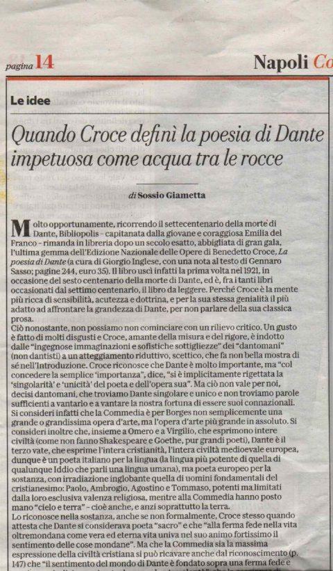 Quando Croce definì la poesia di Dante impetuosa come acqua tra le rocce (S. Giametta, la Repubblica, 7/5/2021)