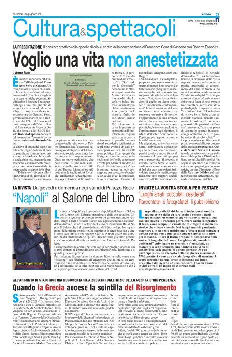 Voglio una vita non anestetizzata, Roma, 30/06/2021