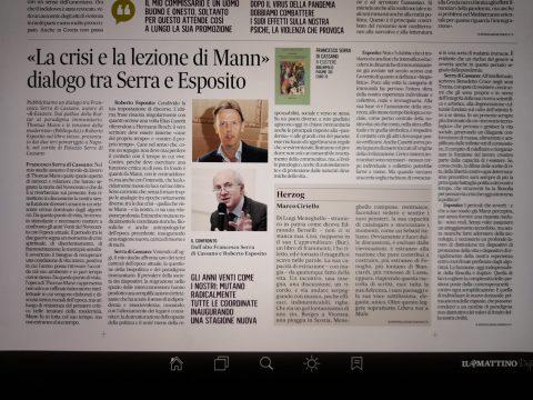 «La crisi e la lezione di Mann». Dialogo tra Serra e Esposito (Il Mattino, 2 luglio 2021)